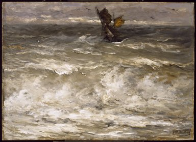 Hendrik Willem Mesdag (Dutch, 1831-1915). <em>In Danger</em>, ca. 1895. Oil on canvas, 35 13/16 x 49 7/16 in. (91 x 125.6 cm). Brooklyn Museum, Gift of Mrs. James Quinlan in memory of her husband, 26.604 (Photo: Brooklyn Museum, 26.604_SL3.jpg)