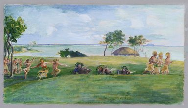 John La Farge (American, 1835-1910). <em>Military Dance in Samoa</em>. Watercolor on paper mounted to board Brooklyn Museum, Gift of George D. Pratt, 26.606 (Photo: Brooklyn Museum, 26.606_PS2.jpg)