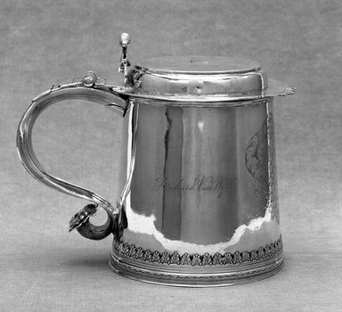 Jacob Boelen (American, 1654-1729). <em>Tankard</em>, 17th century. Silver, 7 1/8 x 5 3/8 in. (18.1 x 13.7 cm). Brooklyn Museum, Gift of Mrs. Richard van Wyck and Mrs. Henry de Bevoise Schenck presented in memory of Richard van Wyck, 26.60. Creative Commons-BY (Photo: Brooklyn Museum, 26.60_view1_acetate_bw.jpg)
