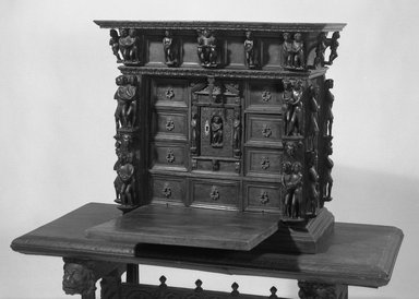 <em>Small Cabinet</em>, 17th or 18th century. Walnut, 27 x 29 1/2 x 14 7/8 in. (68.6 x 74.9 x 37.8 cm). Brooklyn Museum, Museum Surplus Fund, 26.640. Creative Commons-BY (Photo: Brooklyn Museum, 26.640_acetate_bw.jpg)