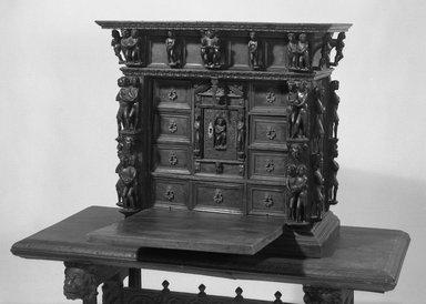 <em>Small Cabinet</em>, 17th or 18th century. Walnut, 27 x 29 1/2 x 14 7/8 in. (68.6 x 74.9 x 37.8 cm). Brooklyn Museum, Museum Surplus Fund, 26.640. Creative Commons-BY (Photo: Brooklyn Museum, 26.640_acetate_bw.jpg)