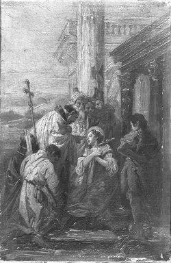 Unknown. <em>Female Saint and Clergy</em>. Oil on canvas, 11 3/8 x 7 7/16 in.  (28.9 x 18.9 cm). Brooklyn Museum, Museum Surplus Fund, 26.699 (Photo: Brooklyn Museum, 26.699_acetate_bw.jpg)