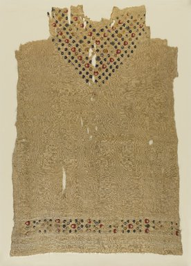 Coptic. <em>Fragmentary Tunic with Botanical Decoration</em>, 5th-6th century C.E. Flax, wool, 41 1/2 x 28 3/4 in. (105.4 x 73 cm). Brooklyn Museum, Gift of the Long Island Historical Society, 26.744. Creative Commons-BY (Photo: Brooklyn Museum, 26.744_PS9.jpg)