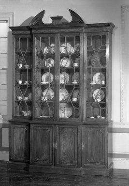 "<em>Bookcase</em>, ca. 1800. Mahogany, 11 3/4"" x 73 3/4"" x 23""  (29.8 x 187.3 x 58.4 cm). Brooklyn Museum, Charles Stewart Smith Memorial Fund, 26.757. Creative Commons-BY (Photo: Brooklyn Museum, 26.757_acetate_bw.jpg)"