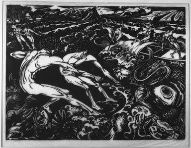 Johannes F.E. Ten Klooster (Dutch, 1873-1940). <em>De Visschers</em>. Linocut, 14 13/16 x 19 5/8 in. (37.7 x 49.8 cm). Brooklyn Museum, Gift of Edward C. Blum, 26.79 (Photo: Brooklyn Museum, 26.79_acetate_bw.jpg)