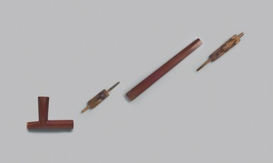 Oglala, Lakota, Sioux. <em>Pipe in Four Pieces, Part of War Outfit</em>, 1850-1890. Wood, catlinite, lead inlay, approximate overall: 33 x 5 1/2 x 1 3/4 in. (83.8 x 14 x 4.4 cm). Brooklyn Museum, Robert B. Woodward Memorial Fund, 26.801a-d. Creative Commons-BY (Photo: Brooklyn Museum, 26.801a-d_PS11.jpg)