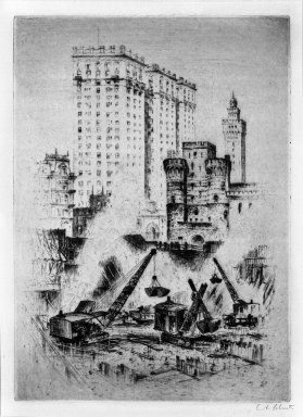 Anton Schutz (American, 1894-1977). <em>The Birth of a Skyscraper 1920's</em>, ca. 1920. Etching on wove paper, Sheet: 18 11/16 x 14 5/16 in. (47.5 x 36.3 cm). Brooklyn Museum, Brooklyn Museum Collection, 26.819 (Photo: Brooklyn Museum, 26.819_bw.jpg)