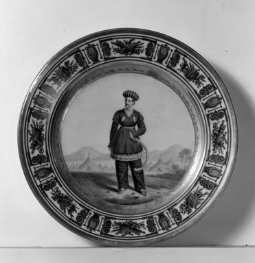 <em>Plate</em>, ca. 1840. Porcelain, 1 1/4 x 9 1/4 in. (3.2 x 23.5 cm). Brooklyn Museum, Bequest of Reverend Alfred Duane Pell, 26.820.5. Creative Commons-BY (Photo: Brooklyn Museum, 26.820.5_acetate_bw.jpg)
