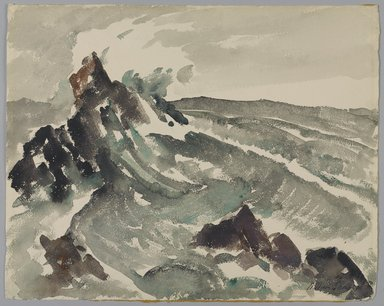 William Sanger (American, 1875-1961). <em>Surf</em>, 20th century. Watercolor, 1/8 x 3/16 in. (0.4 x 0.5 cm). Brooklyn Museum, Gift of Frances King, 27.118. © artist or artist's estate (Photo: Brooklyn Museum, 27.118_PS9.jpg)