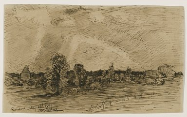 Ralph Albert Blakelock (American, 1847-1919). <em>Rainbow</em>, May 22, 1877. Pen and sepia ink on paper, Sheet: 5 3/8 x 9 1/16 in. (13.7 x 23 cm). Brooklyn Museum, Gift of Mr. and Mrs. E. Le Grand Beers in memory of Edwin Beers, 27.13 (Photo: Brooklyn Museum, 27.13_PS6.jpg)