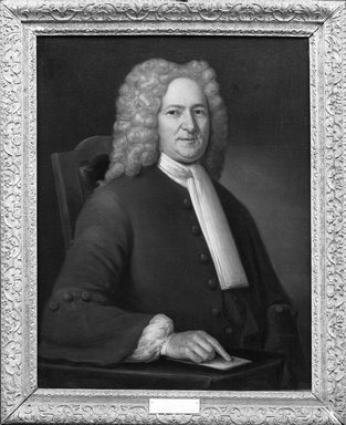 John Smibert (American, 1688-1751). <em>James Gooch</em>, 1730. Oil on canvas, 34 15/16 x 27 7/8 in. (88.7 x 70.8 cm). Brooklyn Museum, Carll H. de Silver Fund and Alfred T. White Fund, 27.203 (Photo: Brooklyn Museum, 27.203_acetate_bw.jpg)