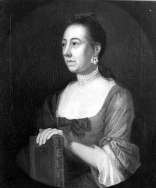 American. <em>Portrait of a Woman (possibly Mrs. Samuel Partridge)</em>, ca. 1765. Oil on canvas, 29 13/16 x 25 5/8 in. (75.8 x 65.1 cm). Brooklyn Museum, Carll H. de Silver Fund and Alfred T. White Fund, 27.205 (Photo: Brooklyn Museum, 27.205_acetate_bw.jpg)