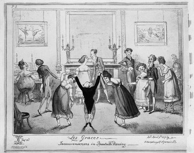 George Cruikshank (British, 1792-1878). <em>Les Graces.  Inconveniences in Quadrille Dancing</em>, 1817. Etching, hand-colored on wove paper, 21 3/8 x 26 5/16 in. (54.4 x 66.8 cm). Brooklyn Museum, Museum Collection Fund, 27.222 (Photo: Brooklyn Museum, 27.222_bw.jpg)