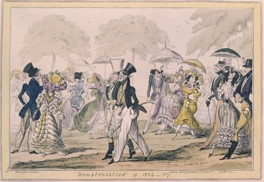 George Cruikshank (British, 1792-1878). <em>Monstrosities of 1824</em>, 1824. Etching, hand-colored on wove paper, 10 5/16 x 14 7/8 in. (26.2 x 37.8 cm). Brooklyn Museum, Museum Collection Fund, 27.227 (Photo: Brooklyn Museum, 27.227_SL4.jpg)