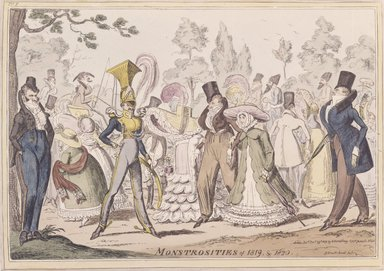George Cruikshank (British, 1792-1878). <em>Monstrosities of 1819</em>, 1819. Etching, hand-colored on wove paper, 10 1/16 x 13 15/16 in. (25.5 x 35.4 cm). Brooklyn Museum, 27.228 (Photo: Brooklyn Museum, 27.228_SL4.jpg)