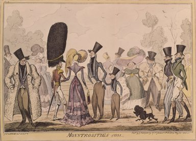 George Cruikshank (British, 1792-1878). <em>Monstrosities of 1821</em>, 1821. Etching, hand-colored on wove paper, 10 1/2 x 13 7/8 in. (26.7 x 35.2 cm). Brooklyn Museum, Museum Collection Fund, 27.230 (Photo: Brooklyn Museum, 27.230_SL4.jpg)
