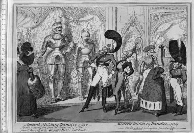 George Cruikshank (British, 1792-1878). <em>Ancient Military Dandies of 1450 - Modern Military Dandies of 1819</em>, 1819. Etching, hand-colored on wove paper, Sheet: 12 3/8 x 16 1/4 in. (31.4 x 41.3 cm). Brooklyn Museum, Museum Collection Fund, 27.234 (Photo: Brooklyn Museum, 27.234_acetate_bw.jpg)