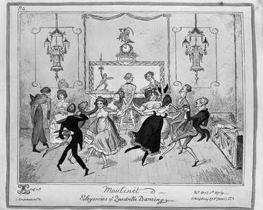 George Cruikshank (British, 1792-1878). <em>Moulinet.  Elegancies of Quadrille Dancing</em>, 1817. Etching, hand-colored on wove paper, 8 7/16 x 10 1/16 in. (21.5 x 25.6 cm). Brooklyn Museum, Museum Collection Fund, 27.235 (Photo: Brooklyn Museum, 27.235_bw.jpg)