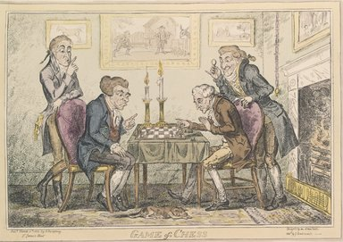 George Cruikshank (British, 1792-1878). <em>A Game of Chess</em>, 1814. Etching, hand-colored on wove paper, Plate: 9 15/16 x 14 in. (25.3 x 35.6 cm). Brooklyn Museum, Museum Collection Fund, 27.237 (Photo: Brooklyn Museum, 27.237_SL4.jpg)