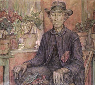 Robert Reid (American, 1862-1929). <em>The Old Gardener</em>, 1921. Oil on canvas, 36 1/8 x 40 3/16 in. (91.8 x 102 cm). Brooklyn Museum, Gift of Fellow Members in the Players and Lambs Clubs, 27.357 (Photo: Brooklyn Museum, 27.357_transp930.jpg)