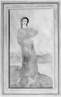 Augustus John (British, 1878-1961). <em>Girl Standing on a Flowery Bank</em>, 1910-1915. Watercolor, 13 3/8 x 11 5/8 in.  (34.0 x 29.5 cm). Brooklyn Museum, Gift of Frank L. Babbott, 27.386 (Photo: Brooklyn Museum, 27.386_glass_bw.jpg)