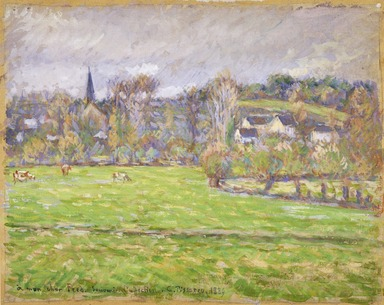 Camille Jacob Pissarro (French, 1830-1903). <em>View of Bazincourt (Vue de Bazincourt)</em>, 1889. Opaque watercolor over touches of graphite on balanced plain weave cotton mounted to pulpboard, Image: 8 1/16 x 10 1/16 in. (20.5 x 25.6 cm). Brooklyn Museum, Gift of Frank L. Babbott, 27.389 (Photo: Brooklyn Museum, 27.389_SL3.jpg)