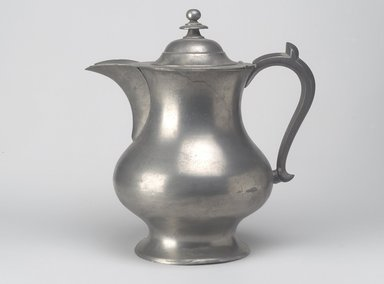 Roswell Gleason. <em>Coffee Pot</em>, ca. 1830. Pewter, 10 7/8 x 10 x 7 1/8 in. (27.6 x 25.4 x 18.1 cm). Brooklyn Museum, Gift of Mrs. Samuel Doughty, 27.532. Creative Commons-BY (Photo: Brooklyn Museum, 27.532.jpg)