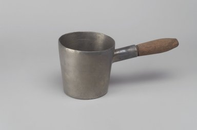 Unknown. <em>Dipper with Handle</em>, n.d. Pewter, wood, 3 1/2 x 8 x 3 3/4 in. (8.9 x 20.3 x 9.5 cm). Brooklyn Museum, Gift of Mrs. Samuel Doughty, 27.635. Creative Commons-BY (Photo: Brooklyn Museum, 27.635.jpg)