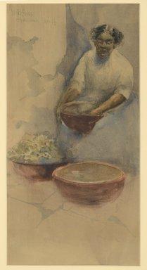 George Benjamin Luks (American, 1867-1933). <em>Havana Cuba</em>, 1896. Watercolor on paper mounted on paperboard, 15 3/8 x 7 7/8 in. (39 x 20 cm). Brooklyn Museum, Museum Collection Fund, 27.649 (Photo: Brooklyn Museum, 27.649_PS2.jpg)