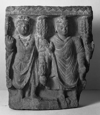 Buddhist. <em>Small Fragmentary Bas-relief</em>, late 2nd-3rd century. Slate, 8 1/2 x 2 9/16 x 7 1/16 in. (21.6 x 6.5 x 18 cm). Brooklyn Museum, Gift of Frederic B. Pratt, 27.64. Creative Commons-BY (Photo: Brooklyn Museum, 27.64_acetate_bw.jpg)
