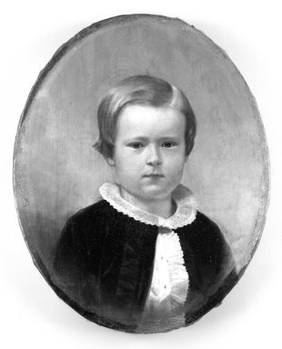 Junius Brutus Stearns (American, 1810-1885). <em>Murray Grant</em>, ca. 1858. Oil on canvas, 10 11/16 x 8 11/16 in. (27.2 x 22 cm). Brooklyn Museum, Gift of Evelyn de Vivon Woodhull Cunningham, 27.652 (Photo: Brooklyn Museum, 27.652_before_treatment_bw.jpg)