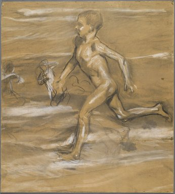 Joaquín Sorolla y Bastida (Spanish, 1863-1923). <em>[Untitled] (Nude Boy Running)</em>, n.d. (1878-1920). Charcoal, graphite, and white pastel, 25 7/16 x 28 1/8 in. (64.5 x 71.3 cm). Brooklyn Museum, Frank Sherman Benson Fund, 27.660 (Photo: Brooklyn Museum, 27.660_PS6.jpg)