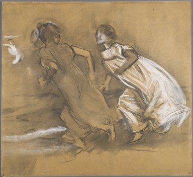 Joaquín Sorolla y Bastida (Spanish, 1863-1923). <em>[Untitled] (Girl in Black Leading Girl in White)</em>, n.d. (1878-1920). Charcoal, graphite, and white pastel on wove paper, 30 5/8 x 28 3/16 in. (77.7 x 71.5 cm). Brooklyn Museum, Frank Sherman Benson Fund, 27.661 (Photo: Brooklyn Museum, 27.661_PS6.jpg)