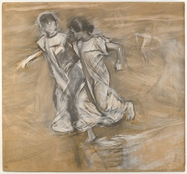 Joaquín Sorolla y Bastida (Spanish, 1863-1923). <em>[Untitled] (Two Girls in White Running Arm in Arm)</em>, n.d. (1878-1920). Charcoal, graphite, and white pastel, 30 5/8 x 28 3/16 in. (77.7 x 71.5 cm). Brooklyn Museum, Frank Sherman Benson Fund, 27.662 (Photo: Brooklyn Museum, 27.662_view2_PS6.jpg)