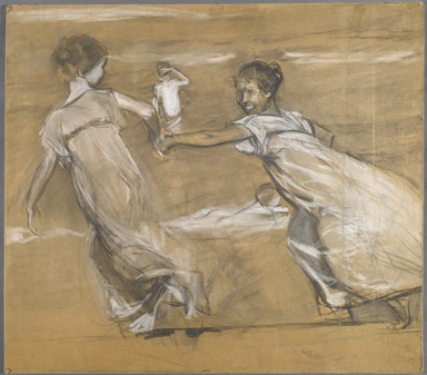 Joaquín Sorolla y Bastida (Spanish, 1863-1923). <em>[Untitled] (Girl Leading Girl by the Hand, Boy Looking On)</em>, n.d. (1878-1920). Charcoal and white pastel, 31 7/8 x 28 1/4 in. (80.8 x 71.7 cm). Brooklyn Museum, Frank Sherman Benson Fund, 27.663 (Photo: Brooklyn Museum, 27.663_PS6.jpg)
