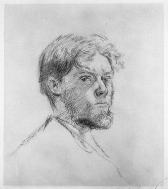 Augustus John (British, 1878-1961). <em>Head of a Man</em>, 19th century. Pencil on wove paper, 10 3/8 x 9 1/2 in. (26.3 x 24.2 cm). Brooklyn Museum, Gift of Frank L. Babbott, 27.665 (Photo: Brooklyn Museum, 27.665_bw.jpg)