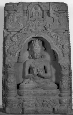 <em>Crowned Buddha Seated in a Niche</em>, 9th-10th century. Schist, 22 7/16 x 13 3/16 x 2 3/4 in. (57 x 33.5 x 7 cm). Brooklyn Museum, Gift of Frederic B. Pratt, 27.67. Creative Commons-BY (Photo: Brooklyn Museum, 27.67_acetate_bw.jpg)