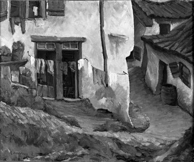 Oscar Gieberich (American, 1886 -after 1943). <em>Fishermen's Houses</em>, ca. 1927. Oil on canvas, 23 3/4 x 28 7/8 in. (60.3 x 73.3 cm). Brooklyn Museum, Museum Collection Fund, 27.736 (Photo: Brooklyn Museum, 27.736_acetate_bw.jpg)