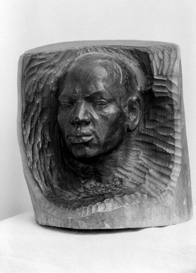 Waldemar Rannus (American, born Estonia, 1880-1944). <em>Le Negre</em>, before 1927. African Blackwood, 15 3/8 × 13 1/4 × 13 3/8 in., 56 lb. (39.1 × 33.7 × 34 cm, 25.4kg). Brooklyn Museum, Museum Collection Fund, 27.740 (Photo: Brooklyn Museum, 27.740_acetate_bw.jpg)