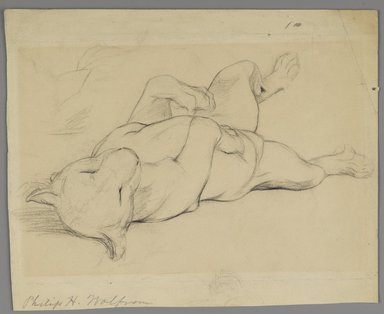 Philip H. Wolfrom (American, 1870-1904). <em>Sleeping Lioness</em>, n.d. Graphite on paper, Sheet: 8 13/16 x 10 11/16 in. (22.4 x 27.1 cm). Brooklyn Museum, Gift of Anna Wolfrom Dove, 27.826 (Photo: Brooklyn Museum, 27.826_PS6.jpg)