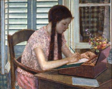 Frederick Carl Frieseke (American, 1874-1939). <em>The Artist's Daughter</em>, 1927. Oil on canvas, 28 3/4 x 36 1/4 in. (73 x 92.1 cm). Brooklyn Museum, Gift of Mrs. Cornelius Zabriskie, 27.861 (Photo: Brooklyn Museum, 27.861_reference_SL1.jpg)