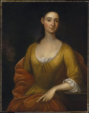 John Smibert (American, 1688-1751). <em>Portrait of a Woman (possibly Mrs. James [Hester Stanton Plaisted] Gooch)</em>, 1730. Oil on canvas, 35 9/16 x 27 11/16 in. (90.3 x 70.4 cm). Brooklyn Museum, Carll H. de Silver Fund and Alfred T. White Fund, 27.947 (Photo: Brooklyn Museum, 27.947_SL1.jpg)