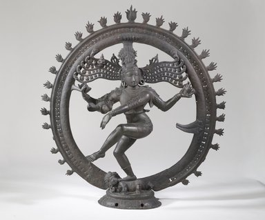 <em>Shiva Nataraja</em>, 18th century. Bronze, 30 x 28 3/4 x 8 1/4 in. (76.2 x 73 x 21 cm). Brooklyn Museum, Gift of Frank L. Babbott, 27.959. Creative Commons-BY (Photo: Brooklyn Museum, 27.959_front_PS6.jpg)