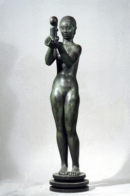 Kai Nielsen (Danish, 1882-1924). <em>Eve and the Apple</em>. Bronze, 69 3/4 x 15 3/4 x 23 in. (177.2 x 40 x 58.4 cm). Brooklyn Museum, Gift of Adolph Lewisohn, 28.17. Creative Commons-BY (Photo: Brooklyn Museum, 28.17_slide_SL3.jpg)