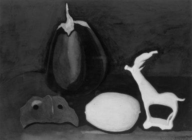 Joseph Stella (American, born Italy, 1877-1946). <em>The Mask</em>, ca. 1928. Watercolor Brooklyn Museum, Gift of Mrs. William H. Good, 28.195 (Photo: Brooklyn Museum, 28.195_acetate_bw.jpg)