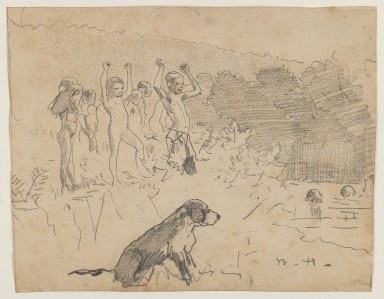 Winslow Homer (American, 1836-1910). <em>The Swimming Hole</em>, n.d. Graphite on beige, moderately thick, moderately textured wove paper, Sheet: 7 5/8 x 9 7/8 in. (19.4 x 25.1 cm). Brooklyn Museum, Frederick Loeser Fund, 28.209 (Photo: Brooklyn Museum, 28.209_IMLS_PS3.jpg)