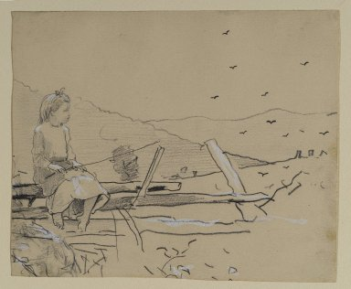 Winslow Homer (American, 1836-1910). <em>Girl Seated on a Rail Fence</em>, ca. 1878. Graphite with opaque white washes on beige medium weight, slightly textured wove paper, Sheet: 6 11/16 x 8 1/16 in. (17 x 20.5 cm). Brooklyn Museum, Frederick Loeser Fund, 28.210 (Photo: Brooklyn Museum, 28.210_PS2.jpg)