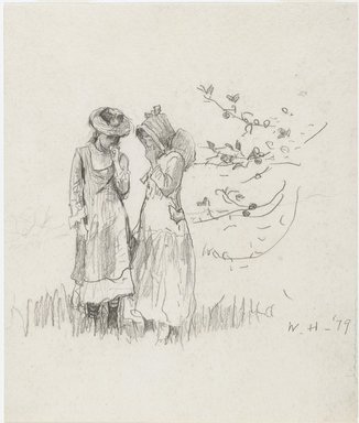 Winslow Homer (American, 1836-1910). <em>Two Girls in a Field</em>, 1879. Graphite on cream, moderately thick, rough-textured wove paper, Sheet: 9 13/16 x 8 5/16 in. (24.9 x 21.1 cm). Brooklyn Museum, Frederick Loeser Fund, 28.211 (Photo: Brooklyn Museum, 28.211_PS6.jpg)