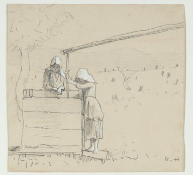 Winslow Homer (American, 1836-1910). <em>Girls at a Well</em>, 1879. Graphite and watercolor on paper, Sheet: 7 3/4 x 8 1/8 in. (19.7 x 20.6 cm). Brooklyn Museum, Frederick Loeser Fund, 28.212 (Photo: Brooklyn Museum, 28.212_PS2.jpg)