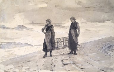 Winslow Homer (American, 1836-1910). <em>Women On Shore with Lobster Pot</em>. Watercolor, 16 1/4 × 21 1/4 in. (41.3 × 54 cm). Brooklyn Museum, Frederick Loeser Fund, 28.213 (Photo: Brooklyn Museum, 28.213.jpg)